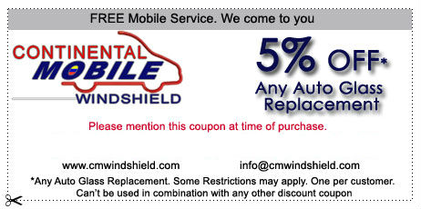 5% off any auto glass replacement